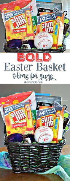 A helpful list of Easter basket ideas for guys. Treat the special man or teen boy in your life this Easter! (Sponsored) #SlimJimBoldBaskets