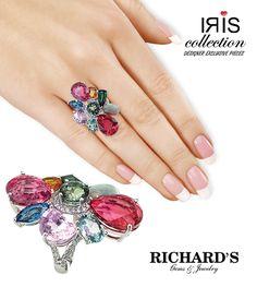 Multicolor Gemstone Ring in 18K White Gold