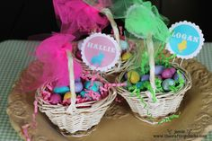 Easter basket name tags, using a floral pin and a free printable.
