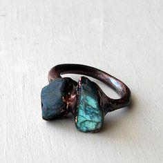 Labradorite Copper Ring Gem Stone Natural Raw