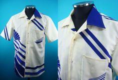Kimono Hawaiian shirt, white background, Japanese fan, Men, US size L by PriscillaTokyo on Etsy