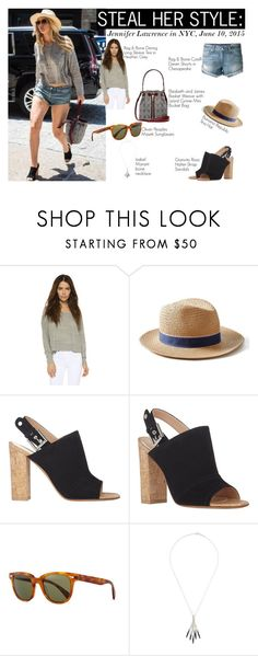 """""""STEAL HER STYLE: Jennifer Lawrence in NYC, June 10 2015"""" by aemun-ahmad ❤ liked on Polyvore featuring rag & bone, Elizabeth and James, Banana Republic, Gianvito Rossi, Oliver Peoples and Isabel Marant"""