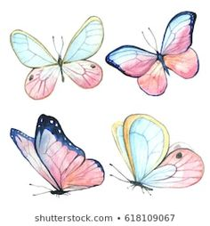 Illustration about Collection of watercolor images of beautiful butterflies. A set of illustrations of an insect. Illustration of watercolor, images, clipart - 107855253 Cartoon Butterfly, Butterfly Images, Butterfly Drawing, Butterfly Painting, Butterfly Watercolor, Pink Butterfly, Illustration Papillon, Vogel Illustration, Butterfly Illustration