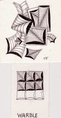Warble. This is a Official Tangle created and introduced by Rick Roberts and Maria Thomas. Zentangle drawn by Ginny Stiles, CZT.