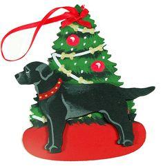 The Christmas Tree Dog Wood 3-D Hand Painted Ornament - Black Labrador Retriever