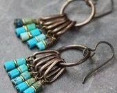 Items similar to Heishi Turquoise Fringe Earrings on Etsy