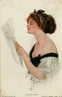 """""""An old song""""  by Harrison Fisher, illustrator                                             Drawing by Harrison Fisher (1877-1934), American illustrator known as """"The Fat..."""