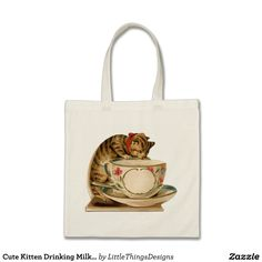 Cute Kitten Drinking Milk from Teacup Budget Tote Bag. Personalize with your own text | Zazzle