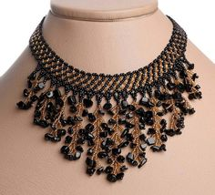 Images of handmade jewelry | Modern Handmade Jewelry Beaded Necklace Waterfall Gerdan Black/Gold ...