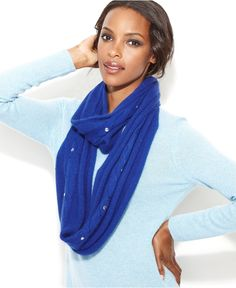 Laundry by Shelli Segal Scarf, Pearlescent Bead Embellished Infinity Loop - Hats, Gloves & Scarves - Handbags & Accessories - Macy's
