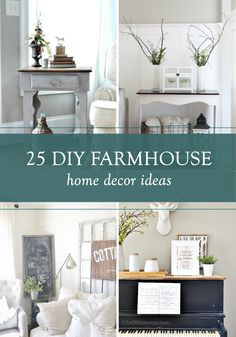 Natural elements and neutral colors come together beautifully in these 25 DIY farmhouse home decor ideas. Each project is perfect for adding a timeless shabby chic accent to your living room, bedroom, or kitchen.