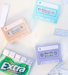 DIY Retro Gum Holder - Designs By Miss Mandee. Download this printable template for FREE! These cute cassettes come in three different colors, and are the perfect size for storing gum. This would be such a fun craft for teens—they could put magnets on the back and hang them in their locker!