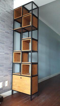 Nosso cliente teve a ideia de dividir 2 ambientes com nossa estante. Fabricada com ferro e madeira. Ficou demais, não !? Metal Furniture, Furniture Design, Home Office, Shelving, Bookcase, Nova, Projects To Try, Home Decor, Industrial Bookshelf