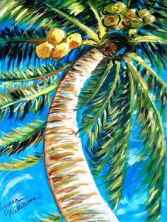 Print of my original acrylic on canvas painting - Tropical & Water Quilt Ideas - Palm Tree Drawing, Palm Tree Art, Palm Trees, Tropical Art, Tropical Paintings, Tropical Vibes, Paintings I Love, Tree Paintings, Beach Paintings