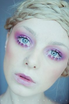 Pink white lashes