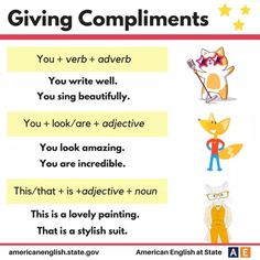 Giving Compliments 3 Vocabulary Sentences, Teaching Vocabulary, Grammar And Vocabulary, English Vocabulary, English Idioms, English Lessons, English Grammar, Teaching English, English Language