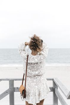 summer breeze, white lace dress with tan cross body bag, fashion blogger style, boho chic, beach babe, beach style, style blog, ootd, outfit ideas, what to wear