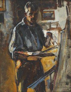 Gheorghe Petrașcu - Autoportret la șevalet Russian Painting, Figure Painting, Venice Biennale, Post Impressionism, Ap Art, Art History, Modern Art, Photo Wall, Artwork