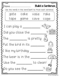 Miss Kindergarten: Super CVCe Practice {that tricky magic e! First Grade Worksheets, School Worksheets, Kindergarten Worksheets, Printable Worksheets, Free Printable, Summer Worksheets, Spelling Worksheets, Addition Worksheets, Math Addition