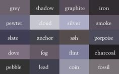 Color Thesaurus / Correct Names of Shades of Grey