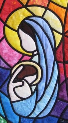 Stained Glass Quilt, Stained Glass Patterns, Stained Glass Christmas, Christmas Art, Virgin Mary Art, Magic Crafts, Collage Drawing, Landscape Quilts, Quilted Wall Hangings