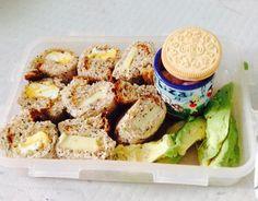 Diy bento for lunch - sandwich sushi, avocado, marshmallows and a golden oreo - yum
