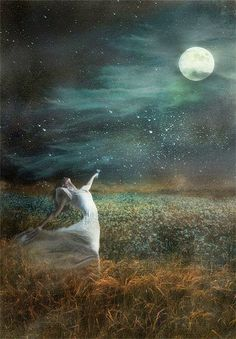 """""""Once upon a perfect night, unclouded and still, there came the face of a pale and beautiful lady. The tresses of her hair reached out to make the constellations, and the dewy vapours of her gown fell soft upon the land."""" -Kit Williams"""