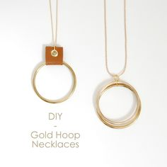DIY Gold Hoop & Leather neckace and Double Gold Hoop Necklace - northstory.ca