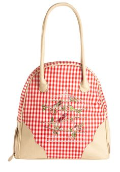 Cool and the Gingham Weekend Bag. Going away for a few days? #red #modcloth