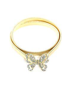 Cinto dourado de metal borboleta