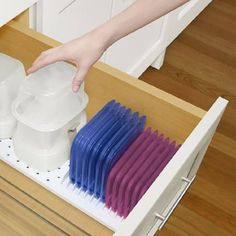 YouCopia StoraStack Food Container Storage and Drawer Organizer Container Organization, Food Storage Containers, Kitchen Organization, Storage Organization, Organize Plastic Containers, Plastic Container Storage, Storage Ideas, Ideas Para Organizar, Kitchen Storage Solutions
