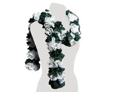 Green and White Ruffle Scarf Twirly Scarf Long by CraftCrazy4U