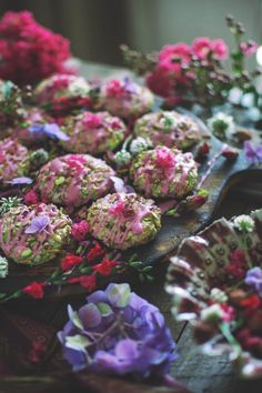 You've heard of Persian love cake, but have you tried Persian love cookies? These little things are almost to beautiful to eat! Persian Desserts, Cookie Recipes, Dessert Recipes, Iranian Cuisine, Flower Food, Middle Eastern Recipes, Edible Flowers, Almond Recipes, Scones