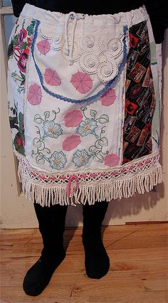 Wearable Folk Art SKIRT Collage Bark Cloth & Embroidery by mybonny