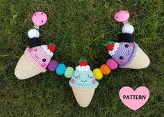 Ice Cream Stroller Mobile Crochet Pattern ~ well written instructions with step-by-step pictures ~ finished size x x long ~ intermediate level ~ PURCHASED pattern - CROCHET Crochet Baby Toys, Crochet For Kids, Half Double Crochet, Single Crochet, Pram Toys, Crochet Mobile, Crochet Basics, Digital Pattern, Cute Designs