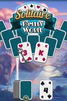 Spannende Solitär-Partien mit immer neuen Karten-Arrangements. #Kartenspiel #kostenlos #freetoplay #gameapp #handygame #tablet #game #solitär #solitaire #upjers Solitaire, Family World, Games, Cards