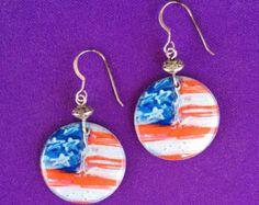 Flag Earrings - on sterling earwires