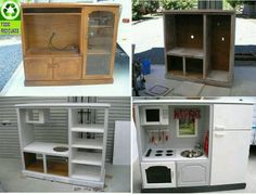 Oh my! Repurposed entertainment center to a play kitchen! I love this!