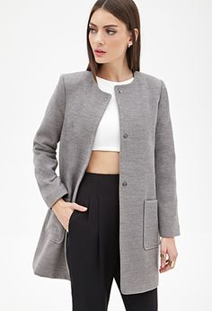 Collarless Covered-Button Shift Coat | FOREVER21 - http://AmericasMall.com/categories/juniors-teens.html