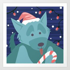 Christmas Dog - version 2 Art Print by Sydney's Doodles - $14.48