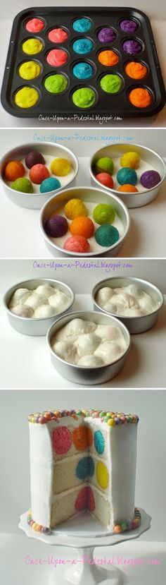Use food dye to die cupcakes or cakepops different colors. Put partially baked cupcakes/cakepops in middle of the rest of the normal cake batter in cake pans. bake normally, assemble cake. Awesome color surprise when cut! Just Desserts, Delicious Desserts, Dessert Recipes, Yummy Food, Cake Recipes, Food Cakes, Cupcake Cakes, Cupcakes Kids, Cupcake Ideas