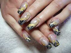 black and yellow nail