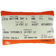 Train ticket mini cushion - shame it's not normal size!