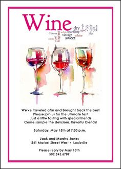 7 Best Wine Tasting Invite Images Invites Wine Cheese Party