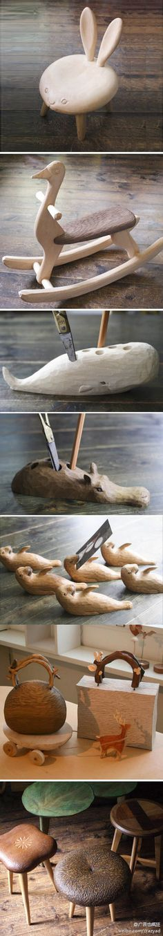 Super cute wooden animal furniture www.kiyata.net
