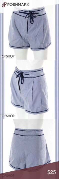 "TOPSHOP Dreamy Blue/White Stripe Navy Trim Shorts SIZE 10. 32"" Waist. 2"" Inseam. 13"" Rise. Light Blue & White Colors. Thin Pinstripe Pattern. Navy Blue Wavy Details & Drawstring Tie. 75% Polyester/25% Cotton Blend. Perfect Condition. WIRN ONCE Topshop Shorts"