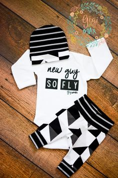 New Guy So Fly Black and Gray Triangle Theme Newborn Outfit