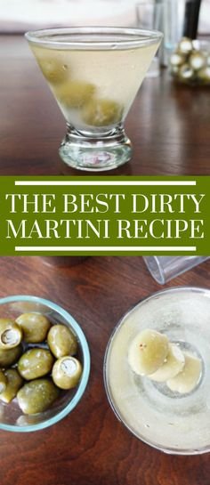 The best martini recipe for of if you're just looking for a Mad Men cocktail. This recipe includes blue cheese stuffed olives and garlic olive brine. Vodka Martini or Gin Martini recipe options. Best Dirty Martini Recipe, Best Martini Recipes, Cocktail Recipes, Drink Recipes, Non Alcoholic Martini Recipes, Best Vodka Drinks, Margarita Recipes, Dinner Recipes, Summer Drinks