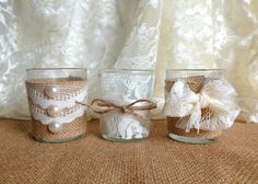 Burlap and Lace Wedding Shower | burlap and lace covered 3 piece 10 hour Votive tea candles, wedding ...