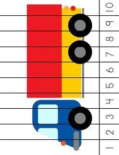 * Cijfer puzzel: Vrachtwagen! Toddler Learning Activities, Kids Learning, Transportation Crafts, Emergent Curriculum, Math Work, Maths Puzzles, Kindergarten Activities, Childhood Education, Math Games